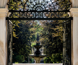 garden, fountain, and house image