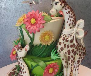 cake, dessert, and flowers image