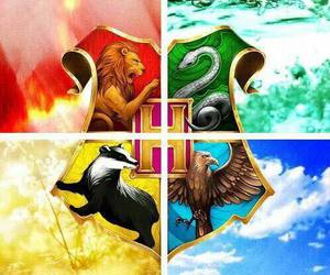 hogwarts, gryffindor, and slytherin image