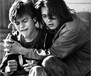 johnny depp, leonardo dicaprio, and black and white image