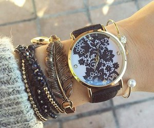 watch, bracelet, and black image
