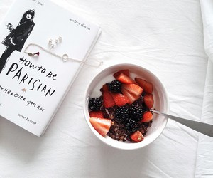 fruit, white, and book image