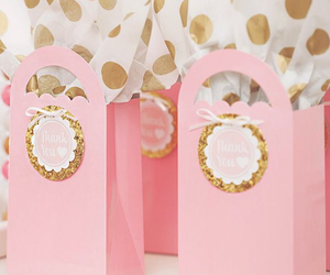 gift, gold, and pink image
