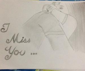 drawing, hug, and miss you image
