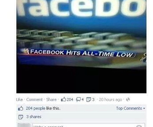 all time low, facebook, and funny image