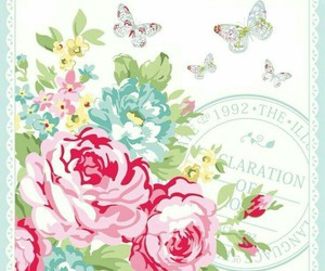 floral, mint, and pink image