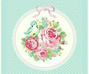 floral, pink, and mint image