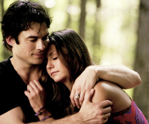 delena, damon salvatore, and elena gilbert image
