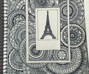 doodle, eiffel tower, and polaroid image