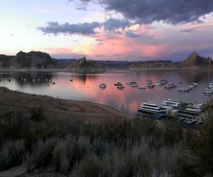 boat, dusk, and nature image