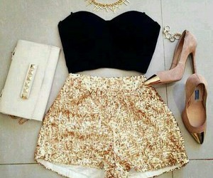 fashion, outfit, and gold image