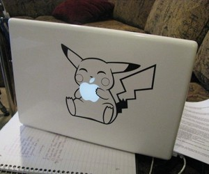 pikachu, apple, and pokemon image