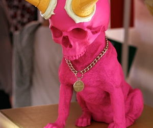 dog, pink, and skull image