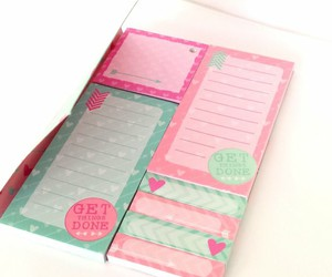 booklet, pink, and sticky notes image