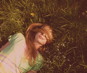 girl, hair, and grass image