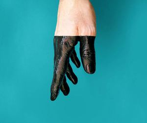 black, blue, and hand image