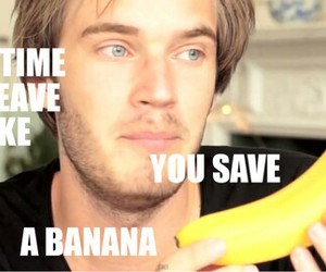 pewdiepie, banana, and youtube image