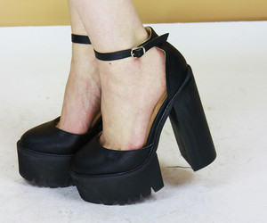 black shoes, platforms, and shoes image
