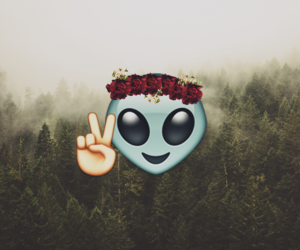 alien, awesome, and flower crown image