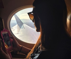 airplane, sunglasses, and travel image