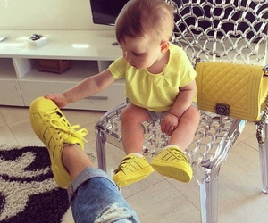 baby, yellow, and adidas image