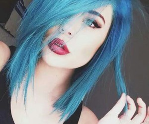 hair, blue, and girl image