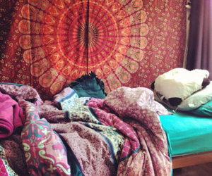 bedroom, boho, and bed image