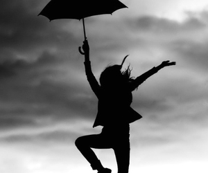 umbrella, black and white, and rain image