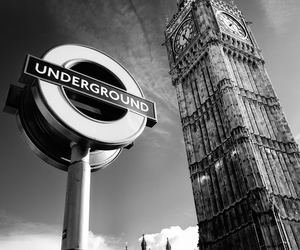 london, underground, and black and white image