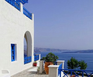 beach, blue, and Greece image