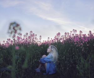 alone, flowers, and girl image