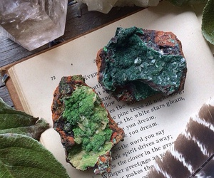 books, green, and minerals image
