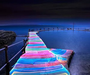light, sea, and neon image