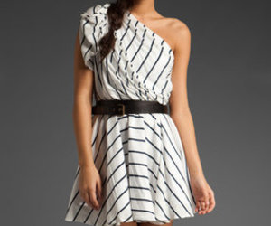 black and white and one shoulder dress image