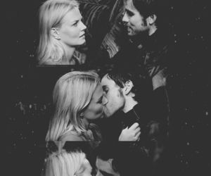 hook, kiss, and black and white image