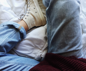 converse, jeans, and pale image