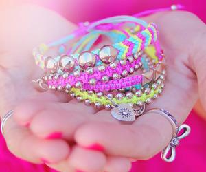 bracelet, girl, and pink image