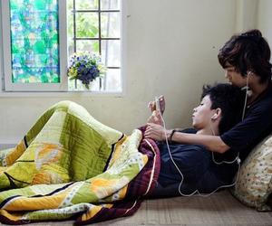 blanket, earphones, and hug image