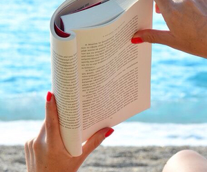 book, beach, and girl image