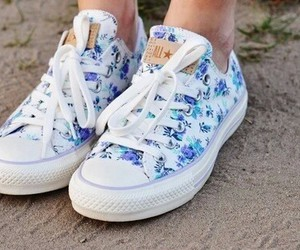 converse, shoes, and flowers image