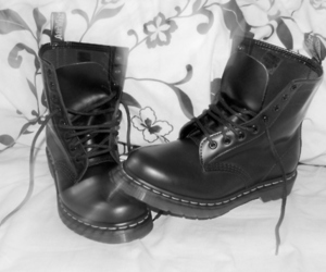black and white, dr martens, and doc martens image