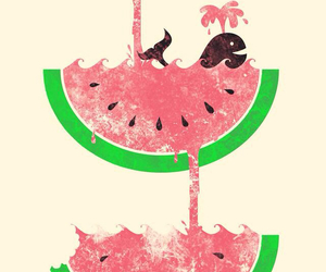 watermelon, art, and whale image