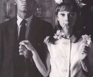 audrey hepburn, black and white, and flowers image
