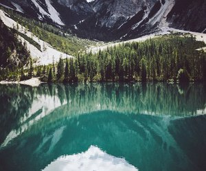clouds, forest, and lake image
