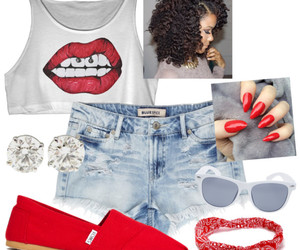 jean shorts, Polyvore, and red nails image
