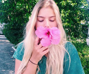 girl, blonde, and flowers image