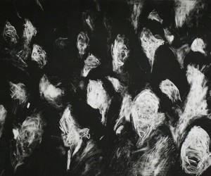 black and white, art, and face image