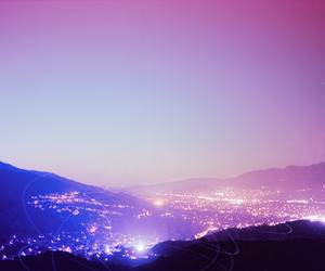city, lights, and pink image