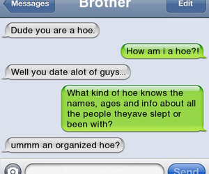 hoe, text message, and some girl image