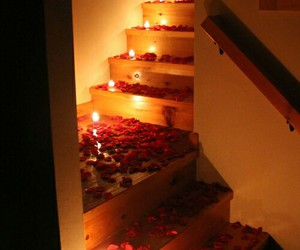romantic, rose, and candle image